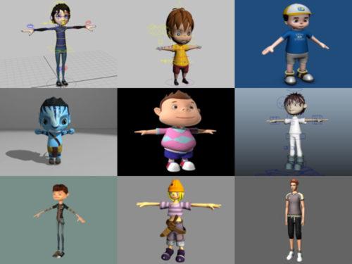 10 فتى كارتون Maya نماذج ثلاثية الأبعاد - الأسبوع 3-2020