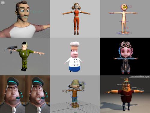 10 personas de dibujos animados Maya Modelos 3D - Semana 2020-38
