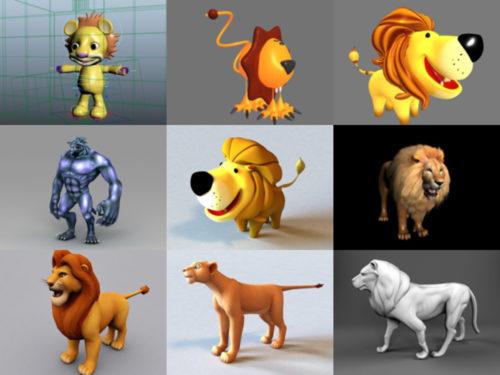 10 حيوان الأسد Maya نماذج ثلاثية الأبعاد - الأسبوع 3-2020