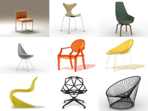 10 كرسي الحداثة مجموعة نماذج 3D