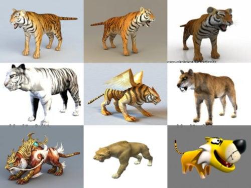 10 OBJ مجموعة نماذج النمر ثلاثية الأبعاد