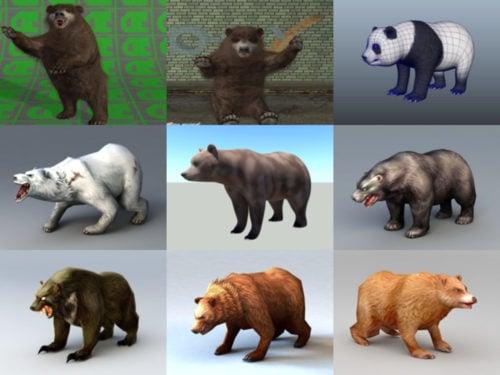 10 realistista karhun ilmaista 3D-mallikokoelmaa