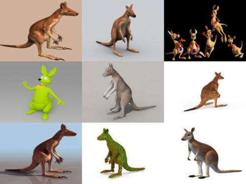 10 realistista kenguru-ilmaista 3D-mallikokoelmaa