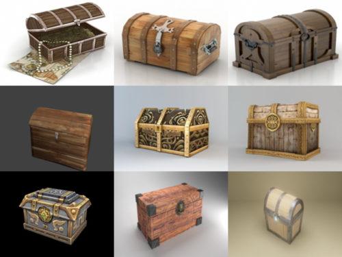 Colección de modelos 10D gratuitos de 3 cofres del tesoro