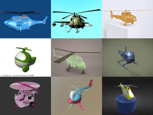 12 modelos 3D gratuitos de helicópteros de dibujos animados - Semana 2020-40