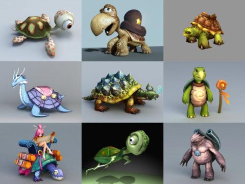 12 Cartoon Turtle Free 3D -mallikokoelma