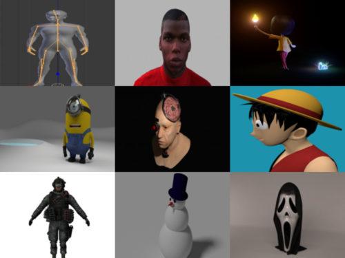 12 caracteres gratis Blender Modelos 3D - Semana 2020-40