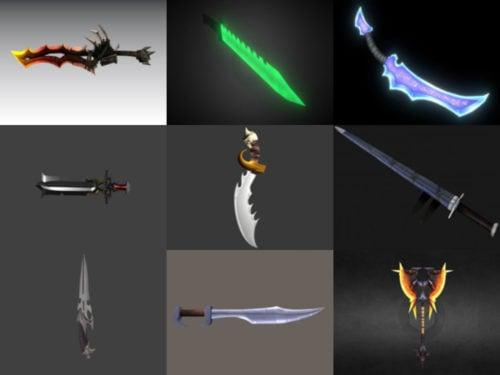 12 Espada de juego gratis Blender Modelos 3D - Semana 2020-40