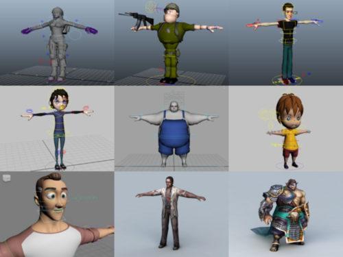 12 شخصية بشرية Rigged نماذج 3D المجانية