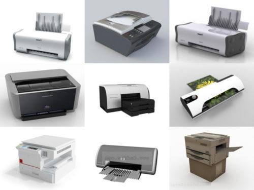 12 Colección de modelos de impresora 3D de oficina