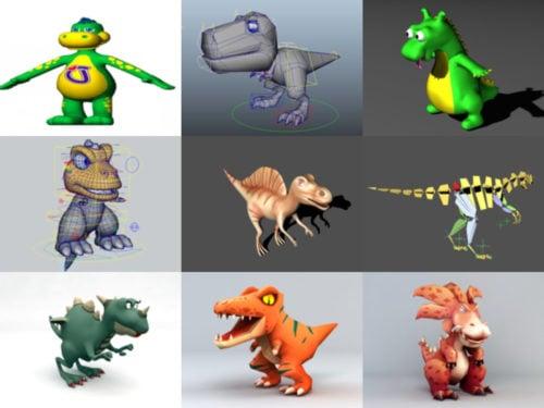 15 sarjakuva dinosaurus ilmainen 3D-mallisto