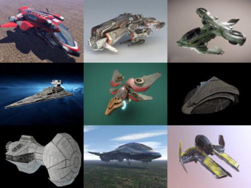 15 مجموعة نماذج طائرات خيال علمي ثلاثية الأبعاد عالية الجودة