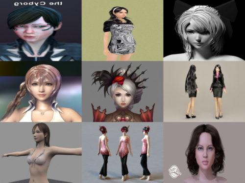 Colección de 20 modelos 3D de chicas realistas