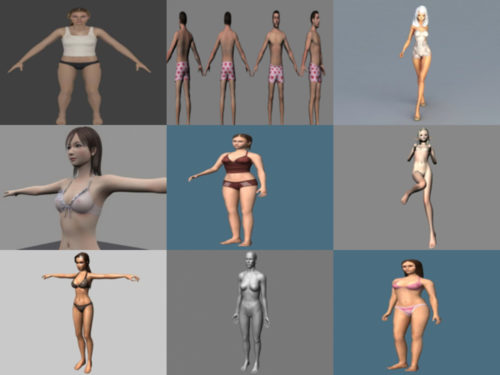 15 نماذج ثلاثية الأبعاد خالية من شخصيات الملابس الداخلية