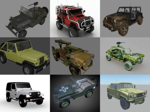 15 Vintage Jeep Car Free 3D Models Collection