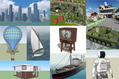 20 جودة عالية Sketchup مجموعة نماذج ثلاثية الأبعاد مجانية