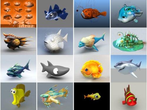 20 نموذج Cartoon Fish Free 3D - الأسبوع 2020-39
