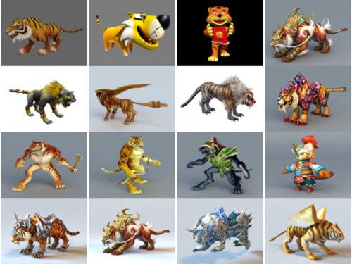 Colección de 20 modelos 3D gratuitos de tigre de dibujos animados