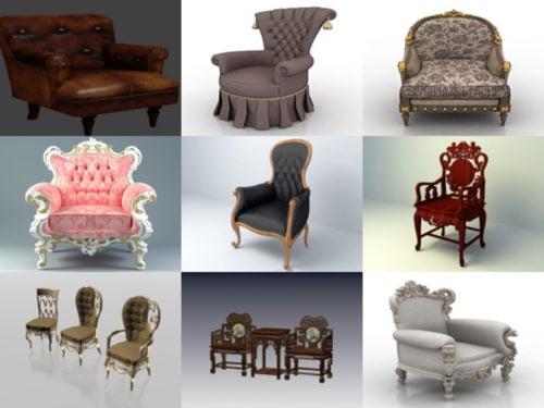 20 klassisen tuolin ilmaista 3D-mallikokoelmaa