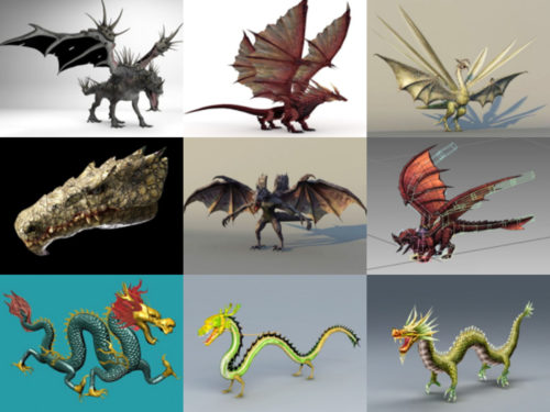20 korkealaatuista lohikäärmeettömää 3D-mallia