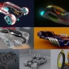 10 Sci-fi bil 3D modeller samling