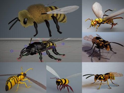 Colección de modelos 3D de abejas realistas