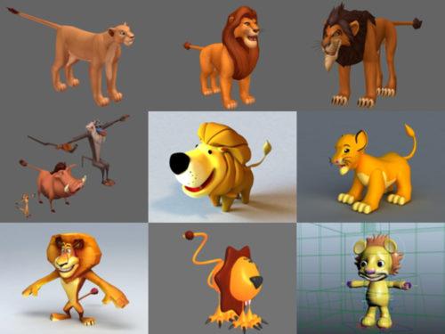 أفضل 10 نماذج Cartoon 3D Lion Free 3D