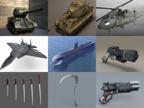 Top 10 Weapon Obj 3D Models – Week 2020-38 Collection
