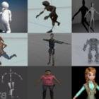 Top 20 Rigged Karakterfri 3D-modelkollektion