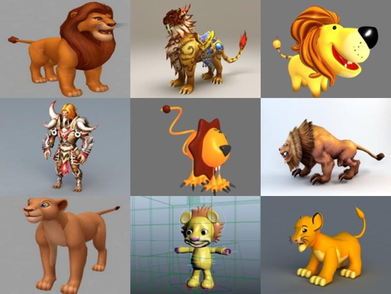 10 Animal Lion Cartoon 3D -mallia - viikko 2020-43