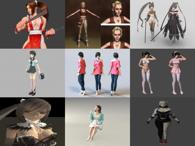 10 Beautiful Girl Free 3D Models Character – Week 2020-43
