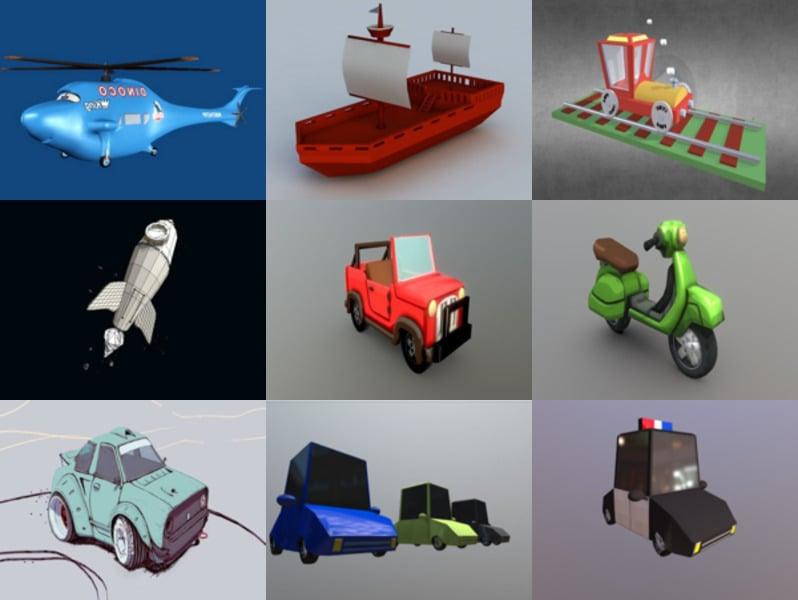 10 Blender Cartoon Vehicle 3D Models – Week 2020-43