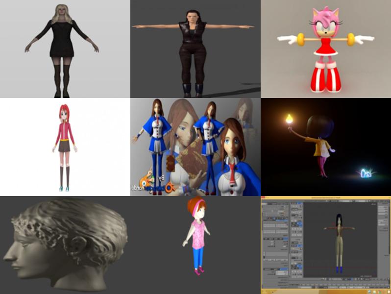 10 Blendنماذج الشخصيات الأنثوية ثلاثية الأبعاد - الأسبوع 3-2020