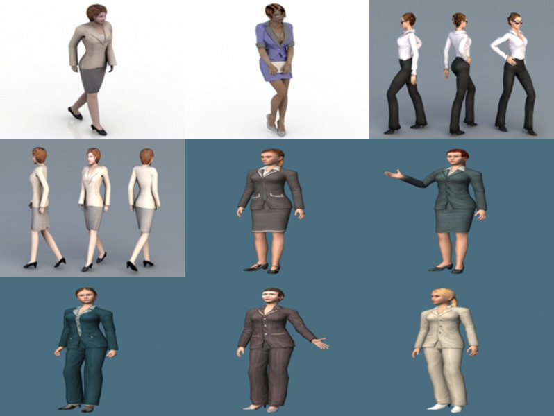 10 Business Woman Free 3D Models Character – Week 2020-43
