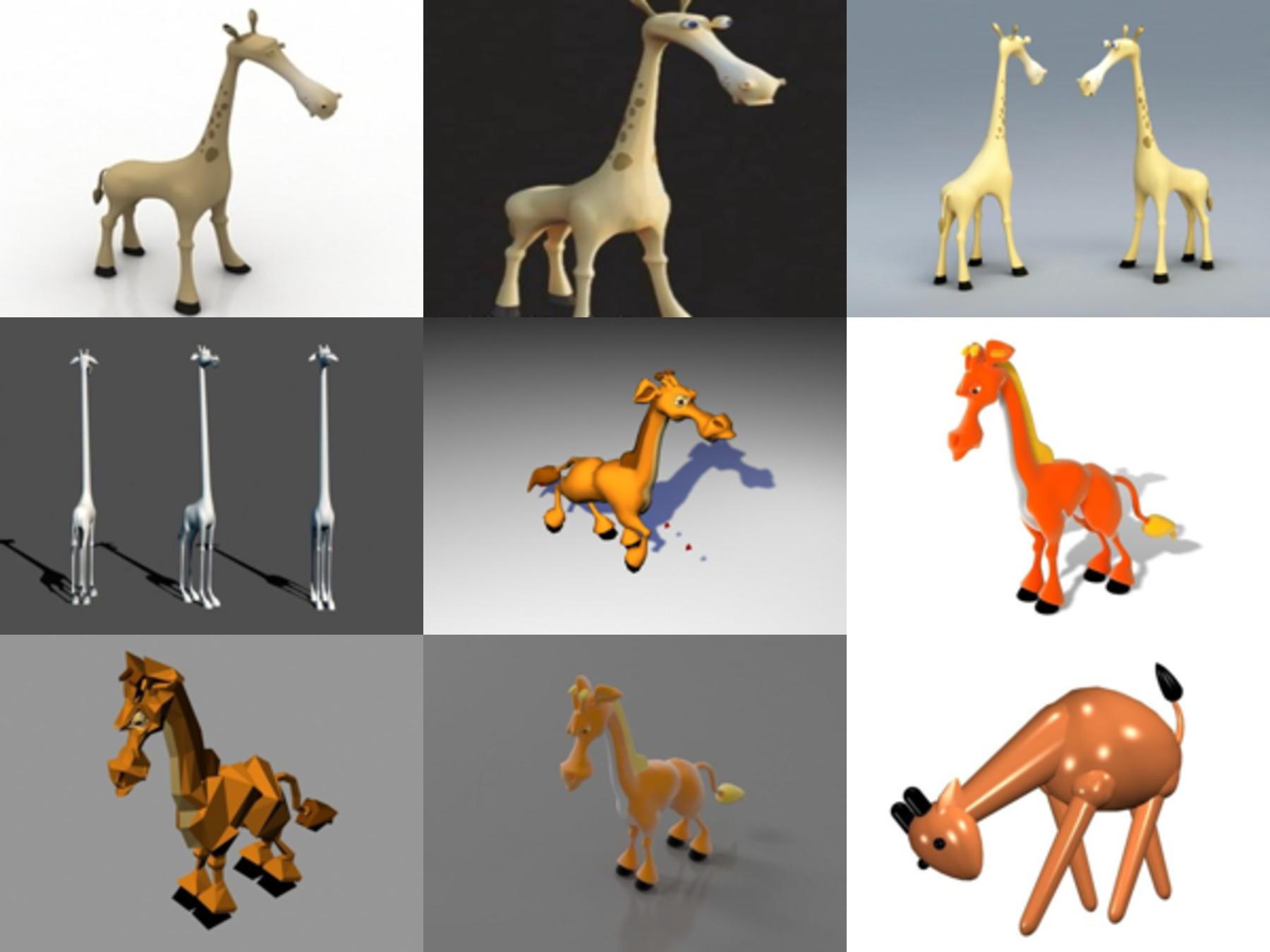 10 نماذج كرتون زرافة مجانية ثلاثية الأبعاد