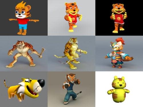10 sarjakuvahahmo Tiger Free 3D -mallia