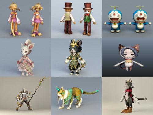 Colección de modelos 10D sin personajes de 3 gatos