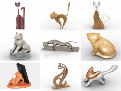 10 modelos 3D sin figuras de gato
