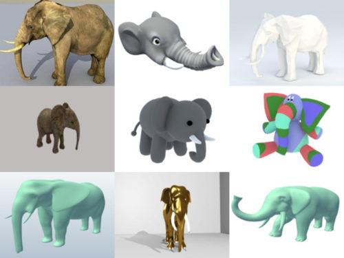 10 norsu vapaa OBJ 3D-malliston kokoelma