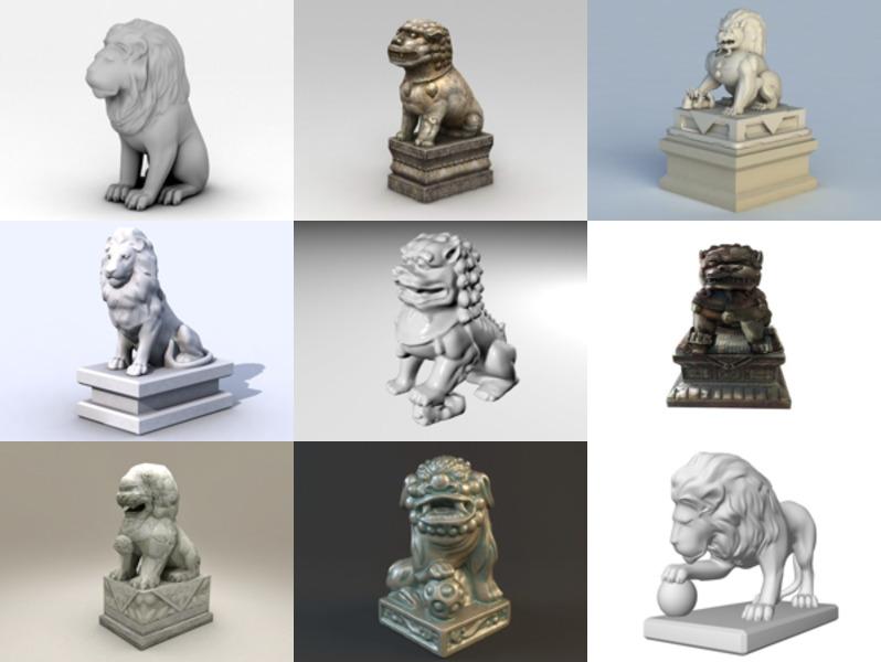 10 modelos 3D de la estatua del león animal de la puerta delantera - Semana 2020-43