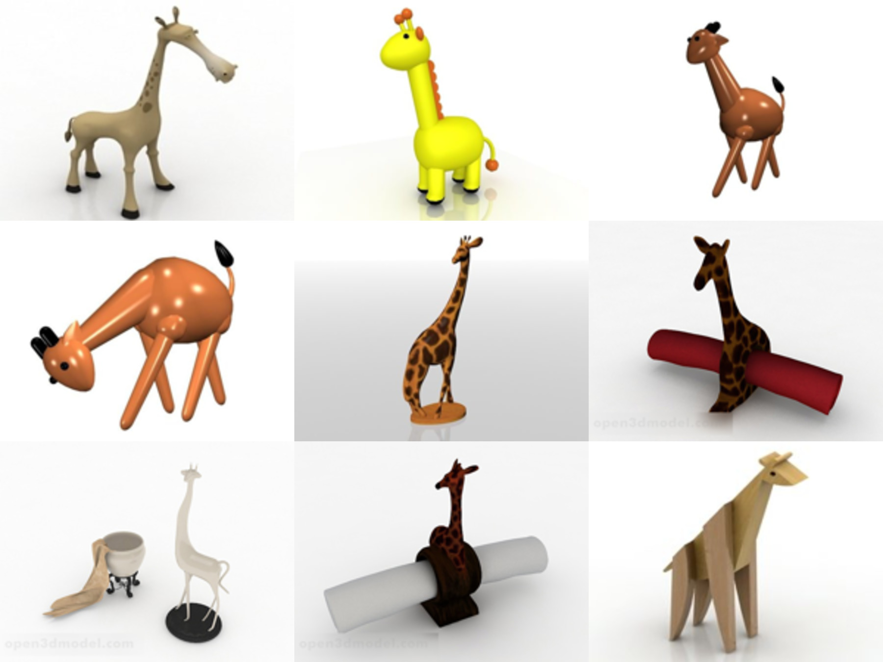 10 Giraffe Toy Free 3D Models