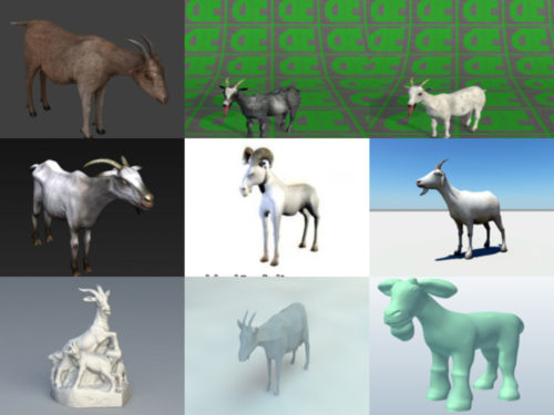 10 cabras gratis OBJ Colección de modelos 3D