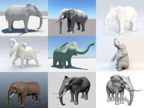 10 Lowpoly تحميل مجاني نماذج الفيل 3D