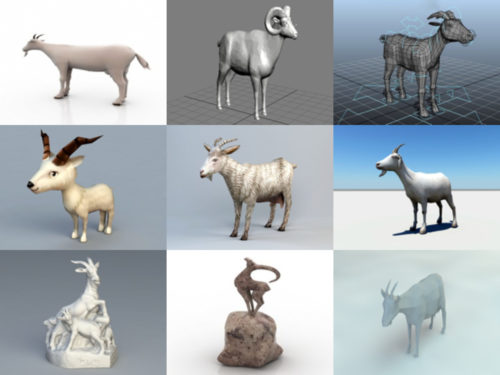 10 Lowpoly Vuohen 3D-mallit Animal Free Download