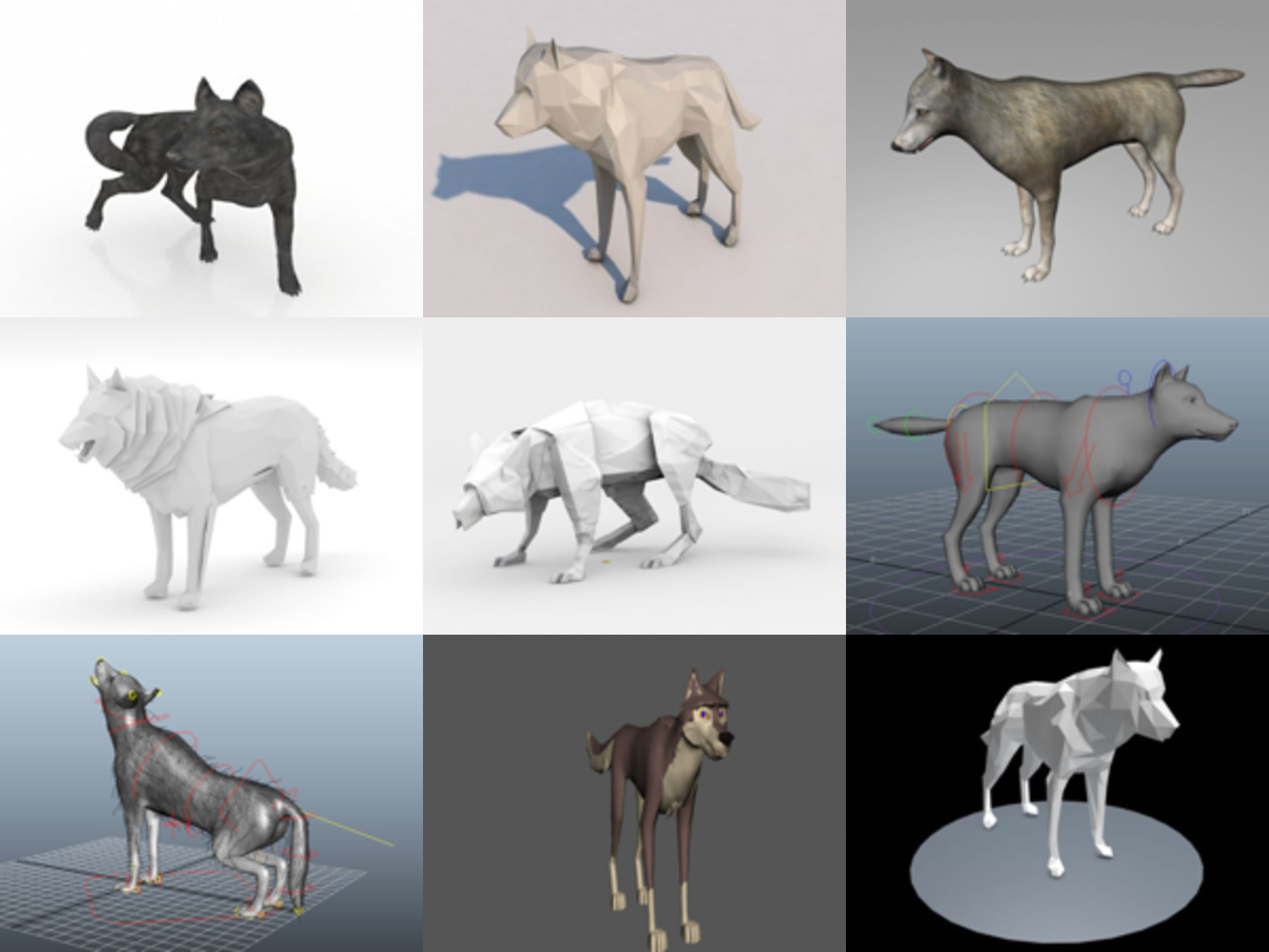 10 Lowpoly Wolf Free 3D Models Collection