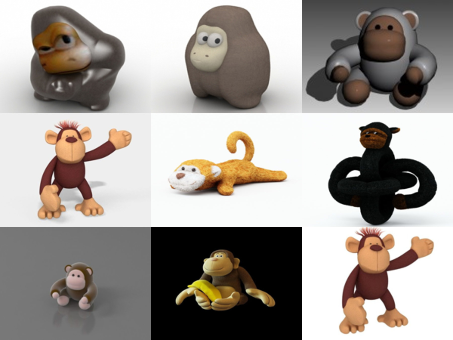 10 Monkey Toy Free 3D Models Collection