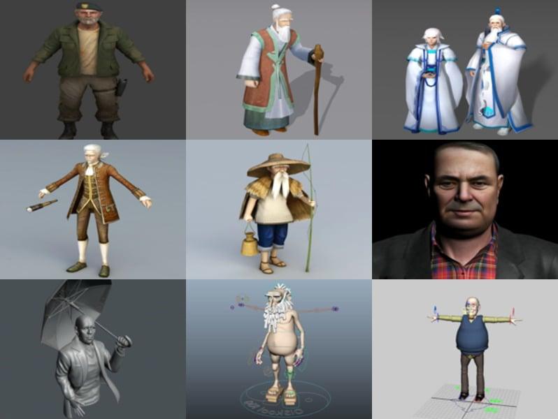 10 نماذج ثلاثية الأبعاد لشخصية الرجل العجوز - الأسبوع 3-2020