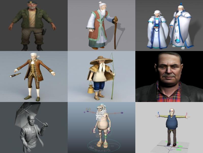 10 Old Man Character 3D Models – Week 2020-43