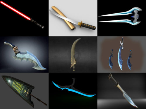 10 miekka vapaa OBJ 3D-mallit - viikko 2020-41