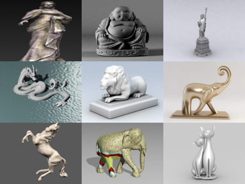 12 3ds Max Statue 3D Models – Day 18 Oct 2020